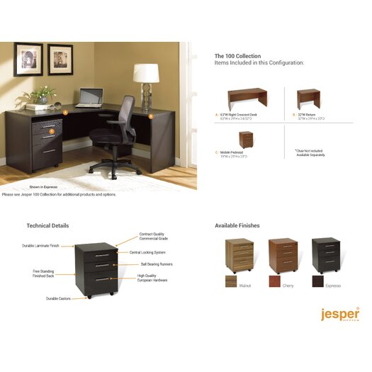 Jesper Office 100 2-Piece L-Shape Home Desk Office Suite