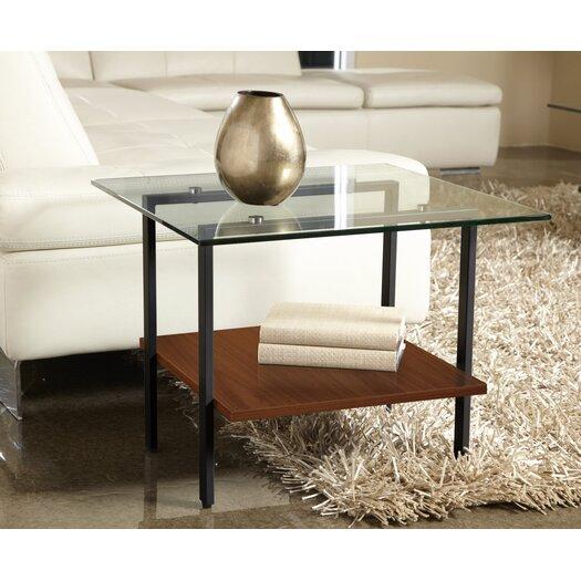 Jesper Office Modern Glass End Table with Shelf