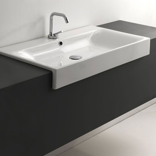 WS Bath Collections Cento Ceramic Semi-Recessed Bathroom Sink