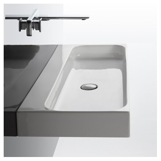 WS Bath Collections Unit Ceramic Wall Mounted Vessel Bathroom Sink