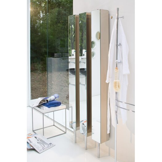 "WS Bath Collections Linea 9.8"" x 72"" Mirrored Free Standing Linen Tower"