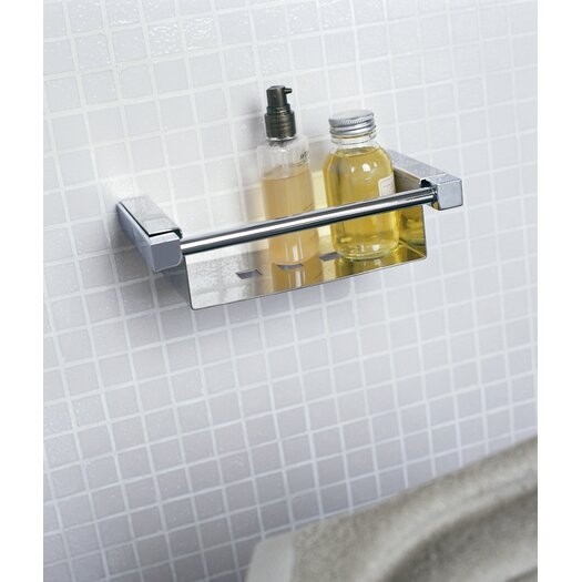 """WS Bath Collections Metric 8.7"""" x 4.7"""" Shower Soap Dish in Polished Chrome"""