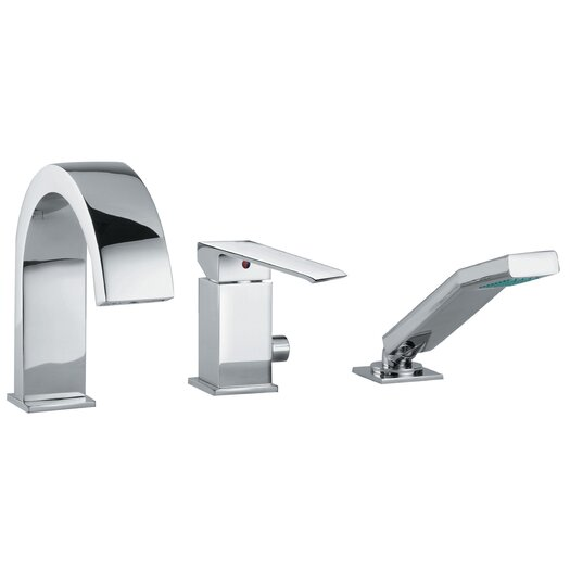 WS Bath Collections Linea Crui Volume Control Single Handle Roman Tub Faucet with Hand Shower