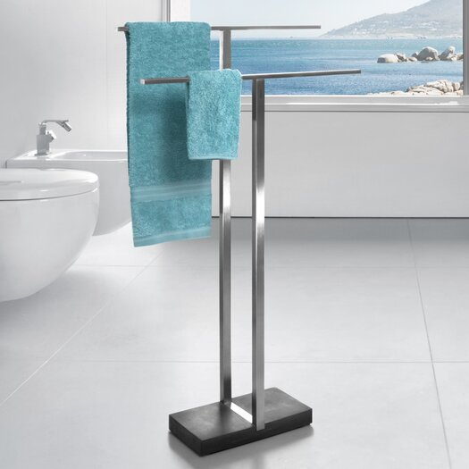 Zack bathroom accessories free standing finio towel rack for Bathroom accessories stand