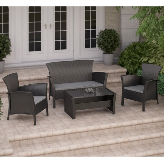 dCOR design Cascade 4 Piece Lounge Seating Group with Cushion
