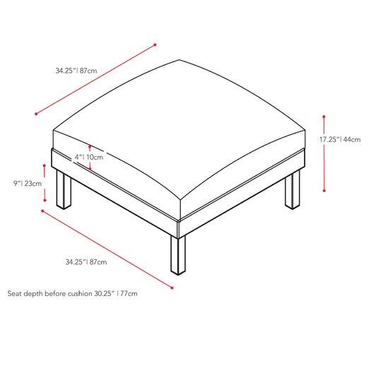 dCOR design Oakland Patio Ottoman with Cushion