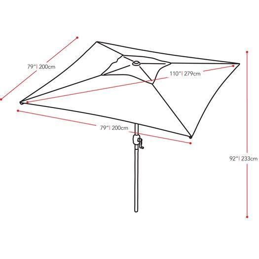 "dCOR design 98.5"" CorLiving Square Market Umbrella"
