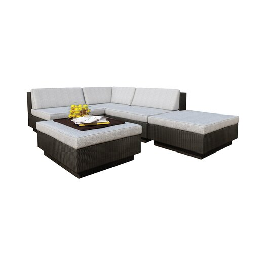 dCOR design Park Terrace 5 Piece Deep Seating Group with Cushions