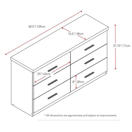dCOR design Willow 6 Drawer Dresser