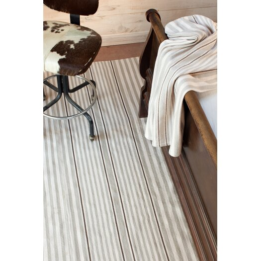 Dash and Albert Rugs Indoor/Outdoor Rugby Platinum Striped Outdoor Area Rug