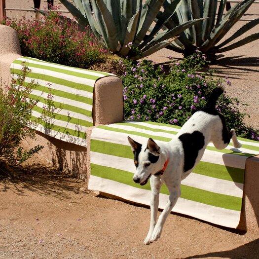 Dash and Albert Rugs Indoor/Outdoor Trimaran Green/White Striped Outdoor Area Rug