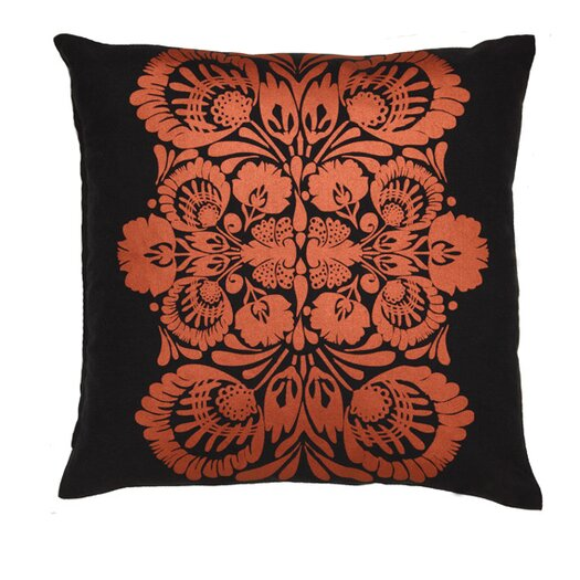 Kreme LLC Screen Print Folk Flower Throw Pillow