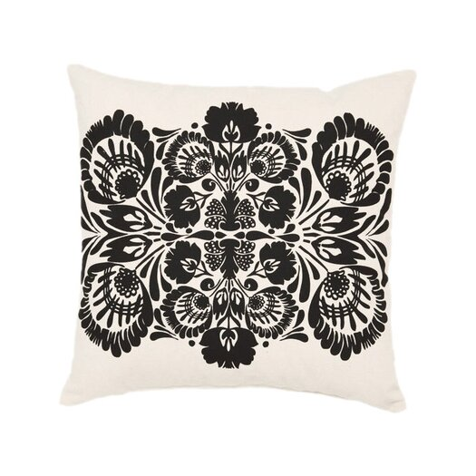 Screen Print Folk Flower Throw Pillow