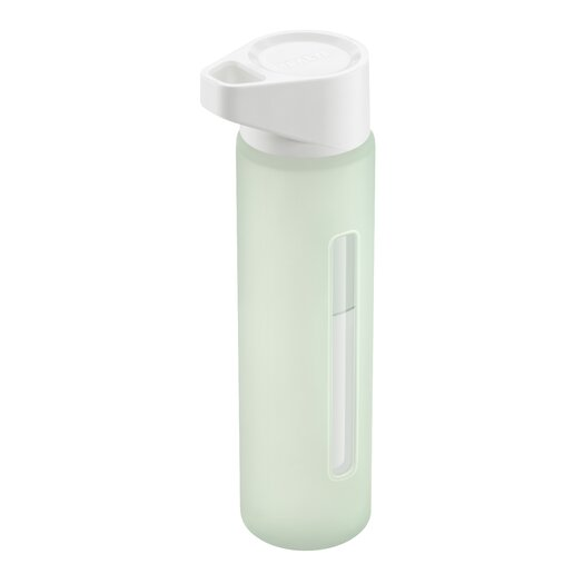 Takeya 16 Oz Modern Glass Water Bottle with White Lid and Jacket in Ice Green