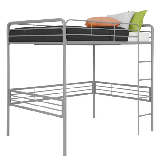 DHP Full Metal Loft Bed with Built In Ladder