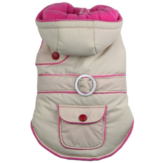 Pet Life Two-Tone Jewel Dog Jacket with Hood in Beige / Pink