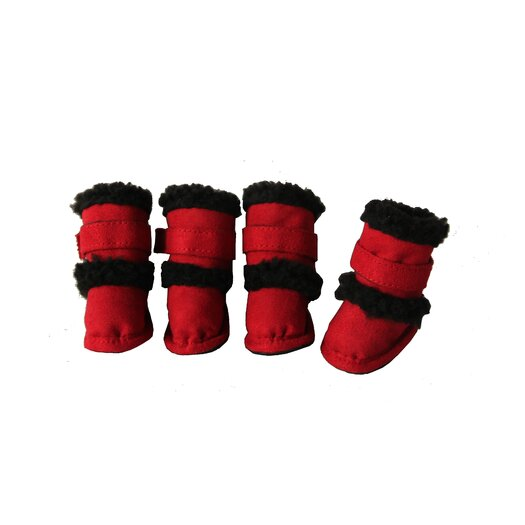 Pet Life Duggz Snuggly Shearling Dog Boots in Red and Black