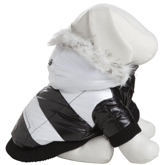 Pet Life Striped Fashion Dog Parka with Removeable Hood