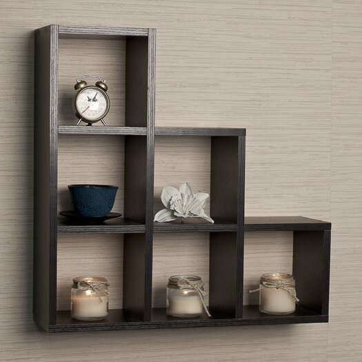 Danya B Stepped 6 Cubby Decorative Wall Shelf