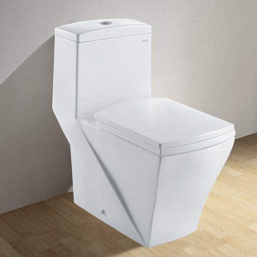 Ariel Bath Granada Contemporary Elongated 1 Piece Toilet with Dual Flush