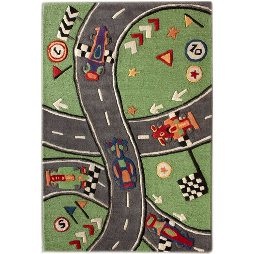 nuLOOM KinderLOOM Race Track Green Area Rug