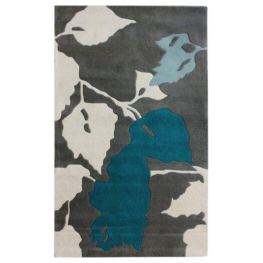 nuLOOM Bella Leaves Grey & Blue Area Rug