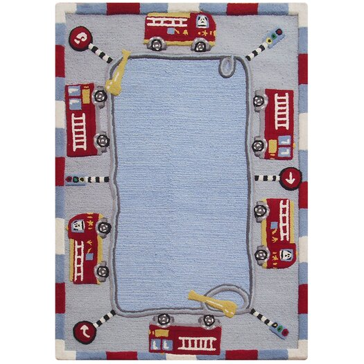nuLOOM Kinder Jungle Play Blue Area Rug
