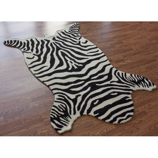 nuLOOM Safari Zebra White Rug