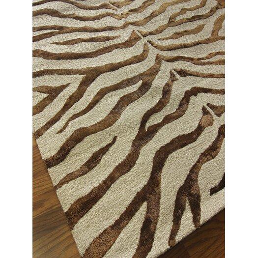 nuLOOM Safari Zebra Print/Faux Silk Highlights Brown Area Rug