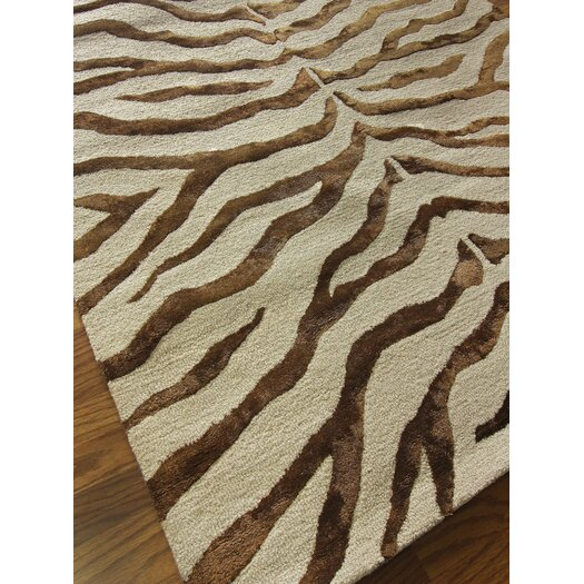 nuLOOM Safari Zebra Print/Faux Silk Highlights Brown Area Rug