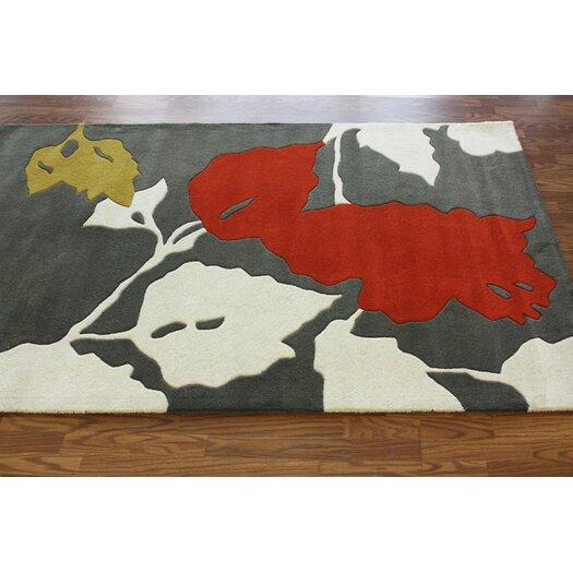 nuLOOM Bella Leaves Grey/Red Area Rug