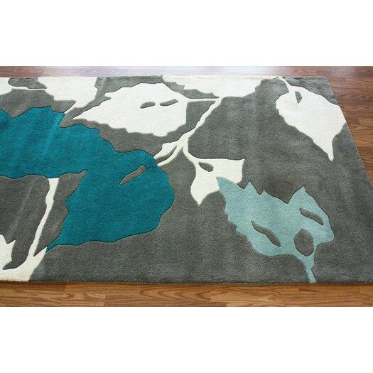 nuLOOM Bella Leaves Gray & Blue Area Rug