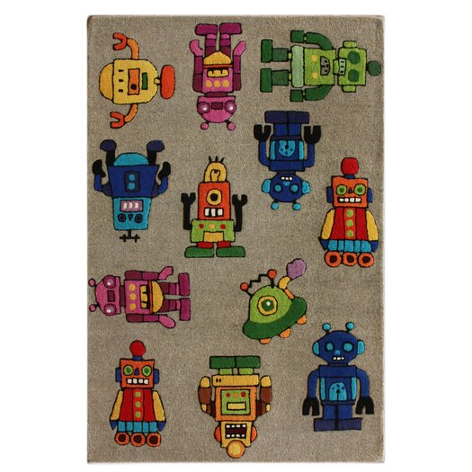 nuLOOM KinderLOOM Robot I Gray Area Rug