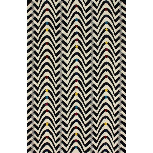 nuLOOM Fancy Black/White Techno Wave Area Rug