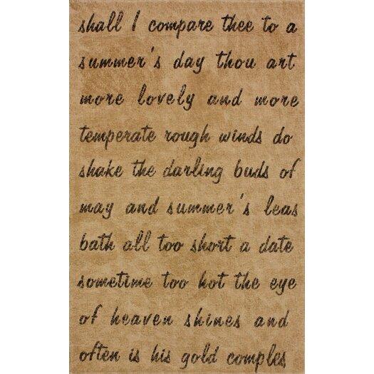 nuLOOM Natura Natural Script Poem Novelty Rug