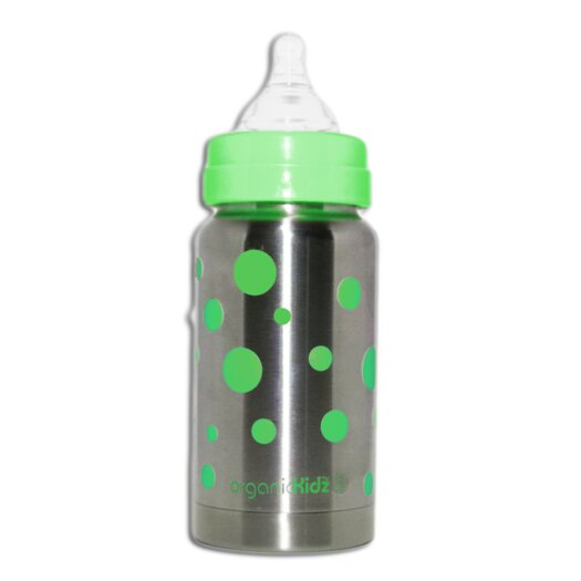 organicKidz Stainless Steel 7 oz Wide Mouth Dots Baby Bottle