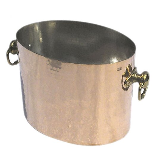 Mauviel M'tradition Cupretam Tinned Copper Oval Champagne Bucket with Bronze Handles