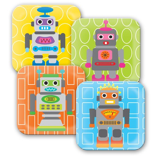 French Bull Robot Kids Plates