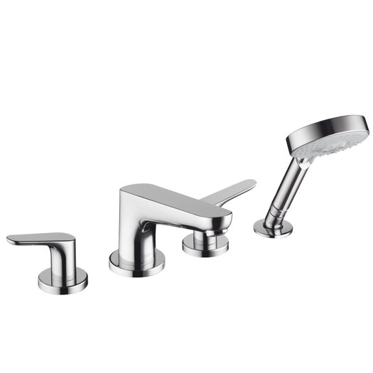 Hansgrohe Focus Double Handle Deck Mount Roman Tub Set Trim with Handshower
