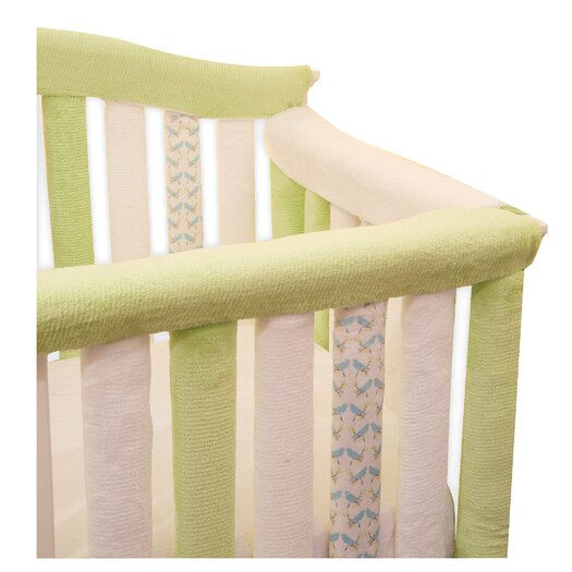 "Go Mama Go Teething Guard in White and Green - 52"" x 6"""