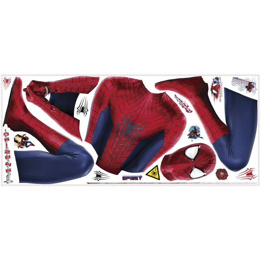 Room Mates 19 Piece Marvel The Amazing Spider-Man 2 Web Slinging Peel and Stick Giant Wall Decal Set