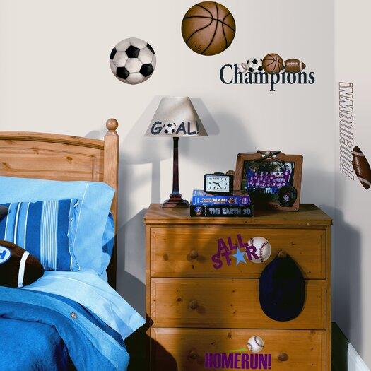 Room Mates Studio Designs 24 Piece Play Ball Wall Decal Set