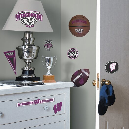 Room Mates Collegiate Sports 28 Piece Appliqué University of Wisconsin Badgers Wall Decal Set