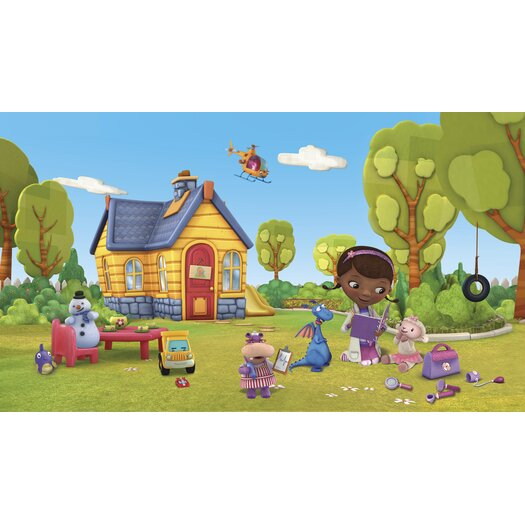 Room Mates Doc McStuffins Chair Rail Prepasted Wall Mural