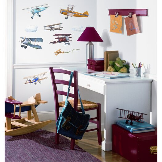 Room Mates Studio Designs 22 Piece Vintage Planes Wall Decal Set