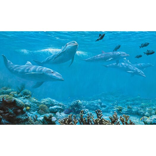 Room Mates Dolphin Chair Rail Prepasted Wall Mural