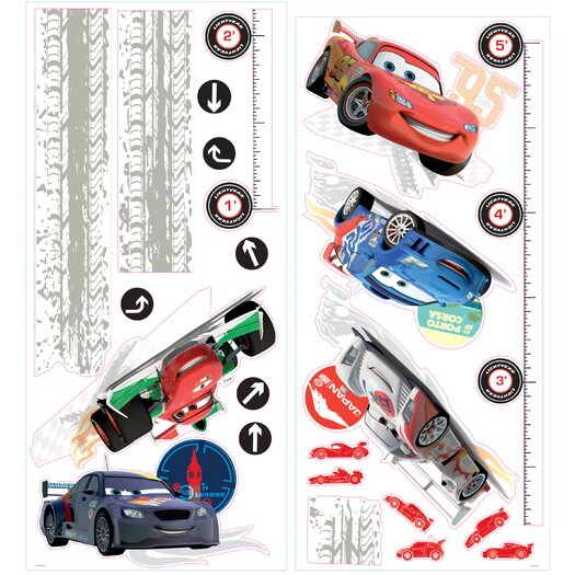 Room Mates Cars 2 Lightening McQueen Peel and Stick Growth Chart