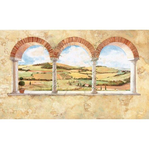 Room Mates Tuscan View Chair Rail Prepasted Wall Mural