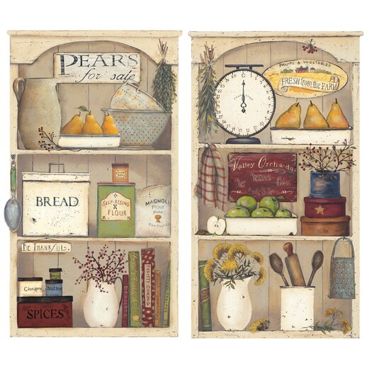Room Mates 17 Piece Peel & Stick Giant Wall Decals/Wall Stickers Country Kitchen Shelves Wall Decal Set