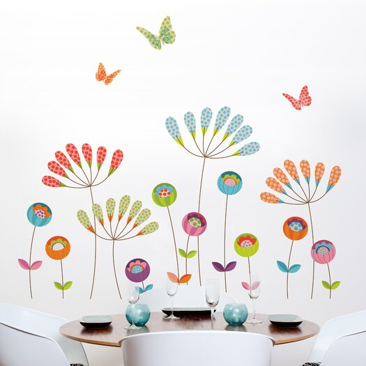 Room Mates Mia & Co Colorful Pompoms Wall Decal